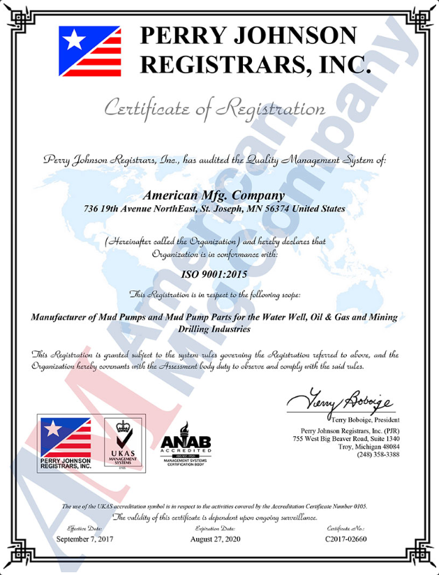 American Mfg Company has been awarded ISO 9001:2015 Certification
