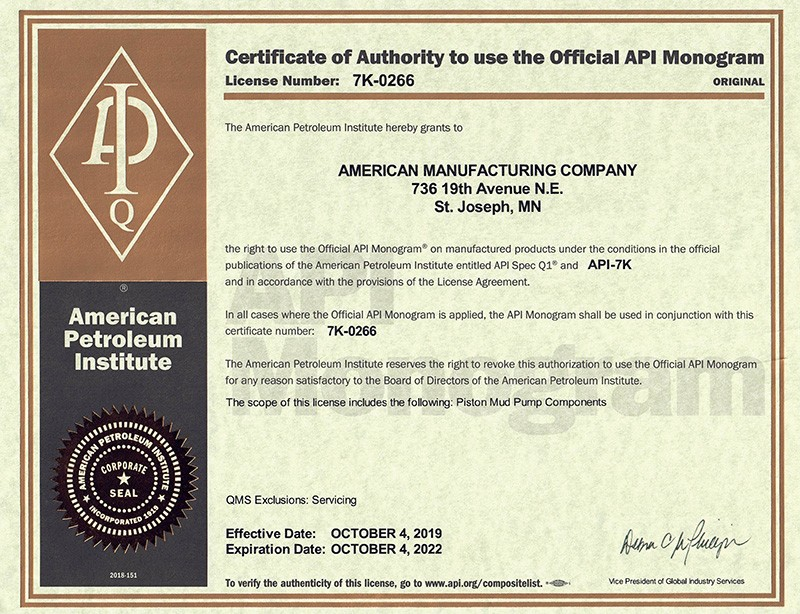 American Mfg Company is proud to announce that on October 4, 2019 we were re-certified with API-7K certification.